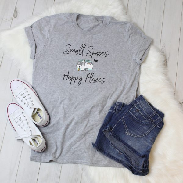 Small Spaces Happy Places ladies tee