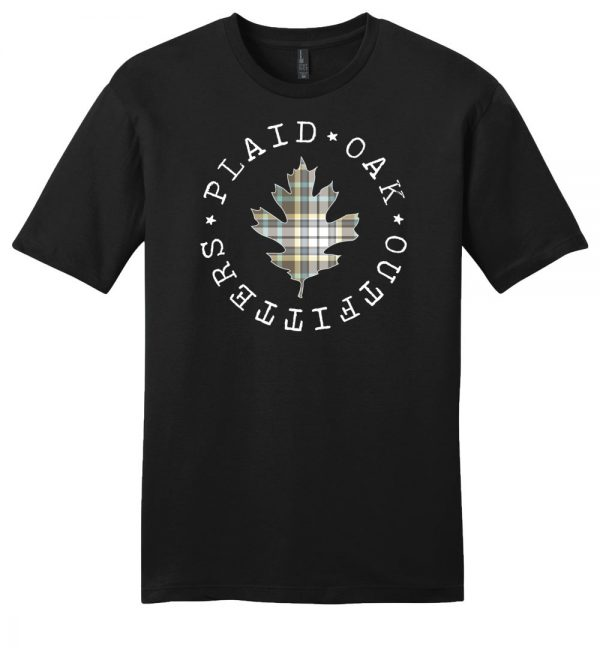 Plaid Oak Outfitters brand logo t-shirt
