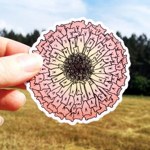 Zinnia Bears Flower Sticker