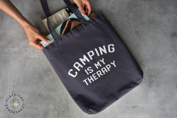 camping is my therapy tote bag
