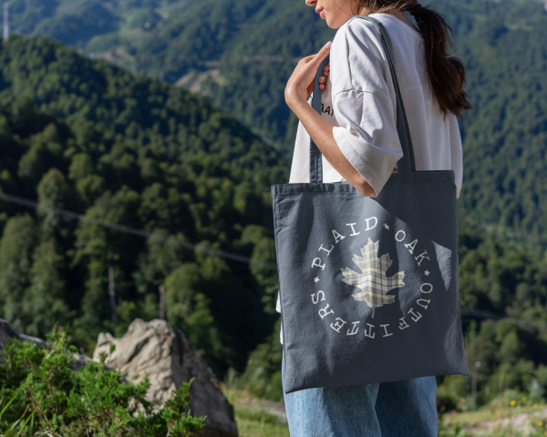 plaid oak outfitters tote bag